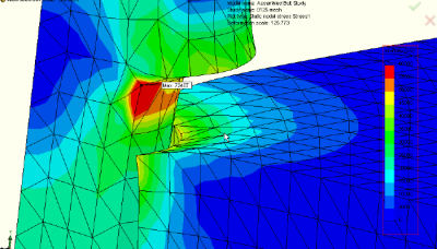 Close-up of FEA model showing stress area.