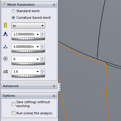 SolidWorks - curvature based mesher settings used