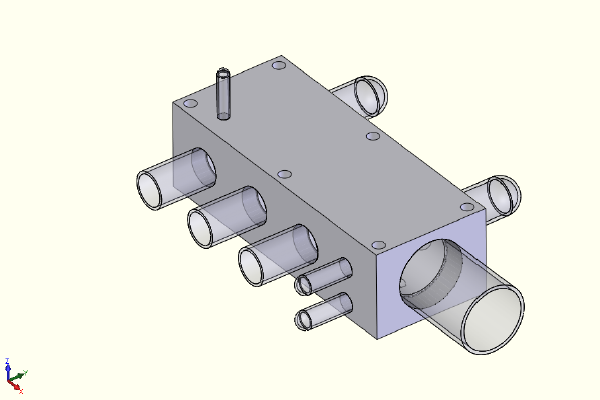 FEA model of a complete hydraulic manifold block.