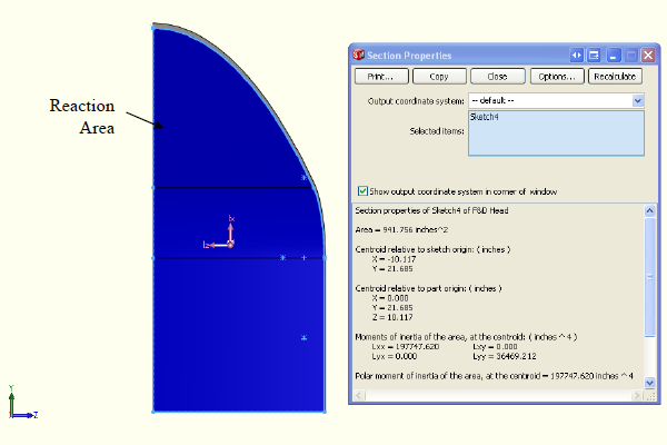 FEA model shows the X reaction area normal to the YZ plane