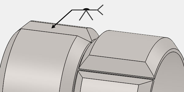 Sketch of long seam welded from one side