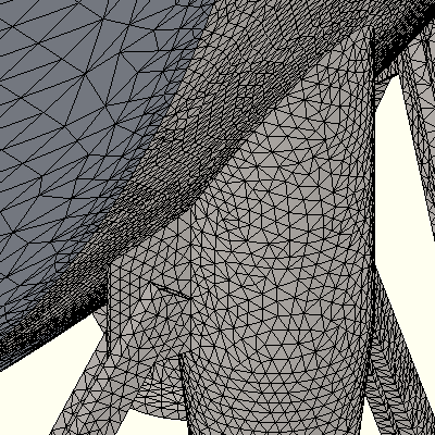 Solid mesh elements were used for the full model