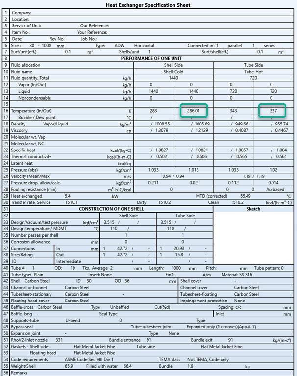 Figure 14 – TEMA Sheet